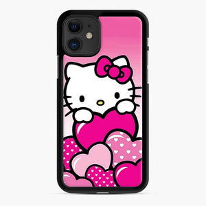 Hello Kitty Cute Falling in Love 2 iPhone 11 Case, Black Rubber Case