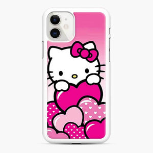 Hello Kitty Cute Falling in Love 2 iPhone 11 Case, White Rubber Case
