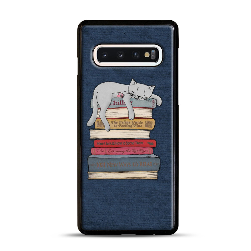 How to Chill Like a Cat Samsung Galaxy S10 Case, Black Plastic Case | Webluence.com