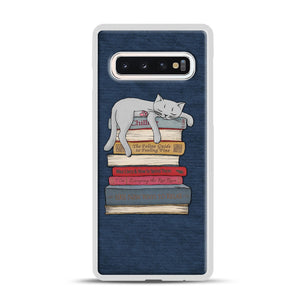 How to Chill Like a Cat Samsung Galaxy S10 Case, White Rubber Case | Webluence.com