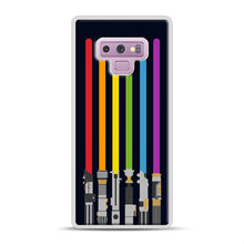 Load image into Gallery viewer, Lightsaber Rainbow Samsung Galaxy Note 9 Case, White Plastic Case | Webluence.com