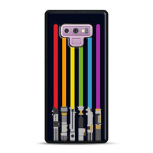 Load image into Gallery viewer, Lightsaber Rainbow Samsung Galaxy Note 9 Case, Black Rubber Case | Webluence.com