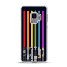 Load image into Gallery viewer, Lightsaber Rainbow Samsung Galaxy S9 Case, White Rubber Case | Webluence.com
