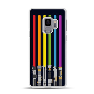 Lightsaber Rainbow Samsung Galaxy S9 Case, White Rubber Case | Webluence.com