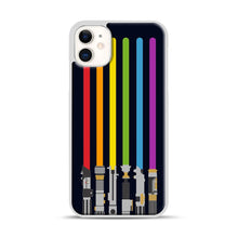 Load image into Gallery viewer, Lightsaber Rainbow iPhone 11 Case.jpg, White Plastic Case | Webluence.com