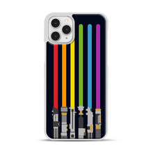 Load image into Gallery viewer, Lightsaber Rainbow iPhone 11 Pro Case, White Plastic Case | Webluence.com