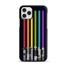 Load image into Gallery viewer, Lightsaber Rainbow iPhone 11 Pro Case, Black Rubber Case | Webluence.com