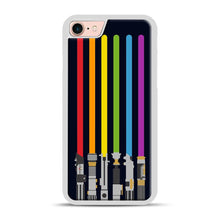 Load image into Gallery viewer, Lightsaber Rainbow iPhone 7/8 Case.jpg, White Plastic Case | Webluence.com
