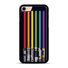 Load image into Gallery viewer, Lightsaber Rainbow iPhone 7/8 Case.jpg, Black Plastic Case | Webluence.com