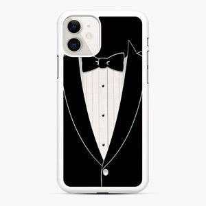 Long Sleeve Tuxedo iPhone 11 Case, White Rubber Case | Webluence.com