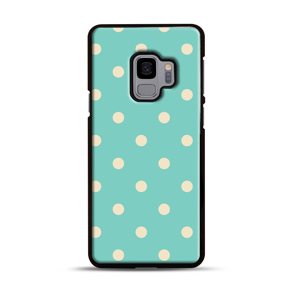 Mint Polka Dot Samsung Galaxy S9 Case, Black Plastic Case | Webluence.com