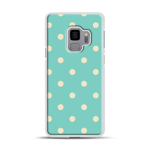 Mint Polka Dot Samsung Galaxy S9 Case, White Rubber Case | Webluence.com