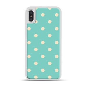 Mint Polka Dot iPhone X/XS Case, White Rubber Case | Webluence.com