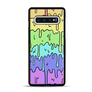 Pastel Melting Rainbow Samsung Galaxy S10 Case, Black Rubber Case | Webluence.com