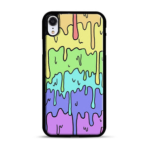 Pastel Melting Rainbow iPhone XR Case, Black Rubber Case | Webluence.com