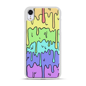 Pastel Melting Rainbow iPhone XR Case, White Plastic Case | Webluence.com