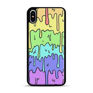 Pastel Melting Rainbow iPhone XS Max Case, Black Rubber Case | Webluence.com