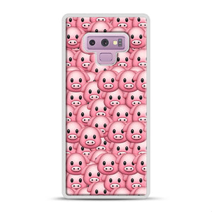 Pig Emoji Pattern 1 Samsung Galaxy Note 9 Case, White Rubber Case | Webluence.com