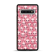 Load image into Gallery viewer, Pig Emoji Pattern 1 Samsung Galaxy S10 Case, Black Plastic Case | Webluence.com