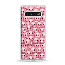 Load image into Gallery viewer, Pig Emoji Pattern 1 Samsung Galaxy S10 Case, White Rubber Case | Webluence.com