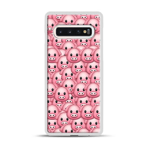 Pig Emoji Pattern 1 Samsung Galaxy S10 Case, White Rubber Case | Webluence.com