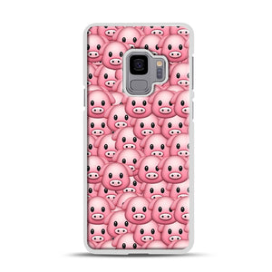 Pig Emoji Pattern 1 Samsung Galaxy S9 Case, White Rubber Case | Webluence.com