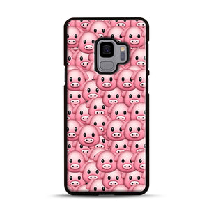 Pig Emoji Pattern 1 Samsung Galaxy S9 Case, Black Rubber Case | Webluence.com