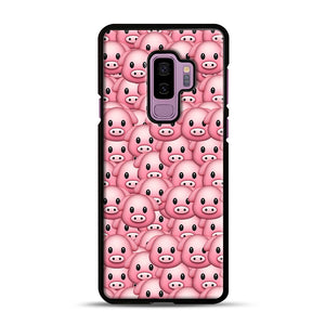 Pig Emoji Pattern 1 Samsung Galaxy S9 Plus Case, Black Rubber Case | Webluence.com