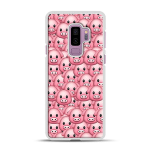 Pig Emoji Pattern 1 Samsung Galaxy S9 Plus Case, White Rubber Case | Webluence.com