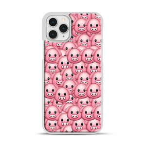 Pig Emoji Pattern 1 iPhone 11 Pro Case, White Rubber Case | Webluence.com