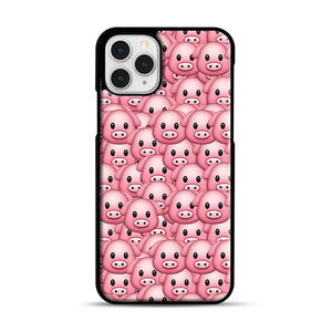 Pig Emoji Pattern 1 iPhone 11 Pro Case, Black Rubber Case | Webluence.com