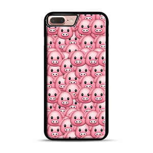 Pig Emoji Pattern 1 iPhone 7 Plus/8 Plus Case, Black Rubber Case | Webluence.com