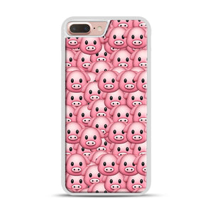 Pig Emoji Pattern 1 iPhone 7 Plus/8 Plus Case, White Rubber Case | Webluence.com