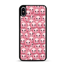 Load image into Gallery viewer, Pig Emoji Pattern 1 iPhone XS Max Case, Black Rubber Case | Webluence.com