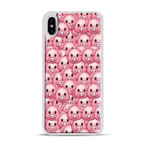 Pig Emoji Pattern 1 iPhone XS Max Case, White Rubber Case | Webluence.com