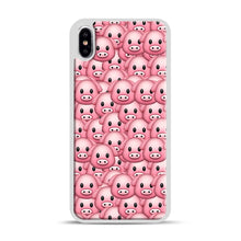 Load image into Gallery viewer, Pig Emoji Pattern 1 iPhone XS Max Case, White Plastic Case | Webluence.com