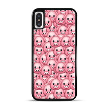 Load image into Gallery viewer, Pig Emoji Pattern 1 iPhone X/XS Case, Black Plastic Case | Webluence.com