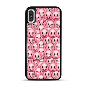 Pig Emoji Pattern 1 iPhone X/XS Case, Black Plastic Case | Webluence.com