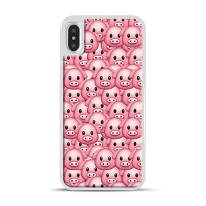 Pig Emoji Pattern 1 iPhone X/XS Case, White Rubber Case | Webluence.com