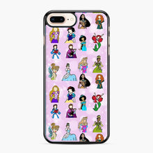 Load image into Gallery viewer, Princess One Upon A Time Fairytale friends Doodle collection iPhone 7 Plus/8 Plus Case, Black Plastic Case | Webluence.com