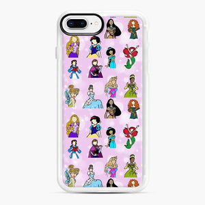 Princess One Upon A Time Fairytale friends Doodle collection iPhone 7 Plus/8 Plus Case, White Rubber Case | Webluence.com