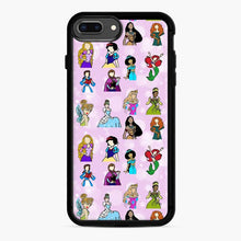 Load image into Gallery viewer, Princess One Upon A Time Fairytale friends Doodle collection iPhone 7 Plus/8 Plus Case, Black Rubber Case | Webluence.com