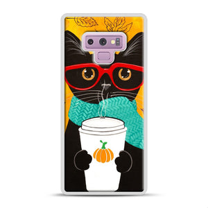 Pumpkin Coffee Cat Samsung Galaxy Note 9 Case, White Plastic Case | Webluence.com