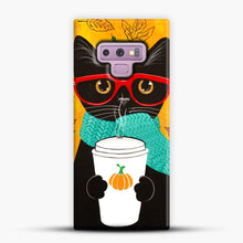 Load image into Gallery viewer, Pumpkin Coffee Cat Samsung Galaxy Note 9 Case, Snap Case | Webluence.com