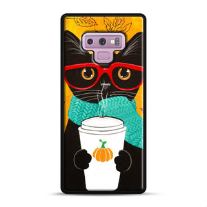 Pumpkin Coffee Cat Samsung Galaxy Note 9 Case, Black Rubber Case | Webluence.com