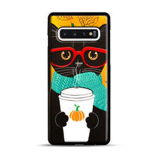 Load image into Gallery viewer, Pumpkin Coffee Cat Samsung Galaxy S10 Case, Black Plastic Case | Webluence.com