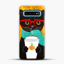 Load image into Gallery viewer, Pumpkin Coffee Cat Samsung Galaxy S10 Case, Snap Case | Webluence.com