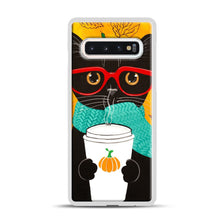 Load image into Gallery viewer, Pumpkin Coffee Cat Samsung Galaxy S10 Case, White Plastic Case | Webluence.com