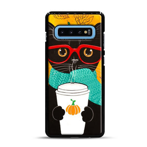 Pumpkin Coffee Cat Samsung Galaxy S10 Plus Case, Black Rubber Case | Webluence.com