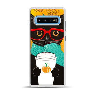 Pumpkin Coffee Cat Samsung Galaxy S10 Plus Case, White Rubber Case | Webluence.com